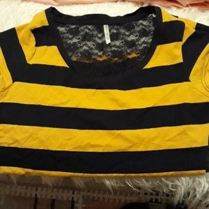 Tops - Blue and yellow striped shirt